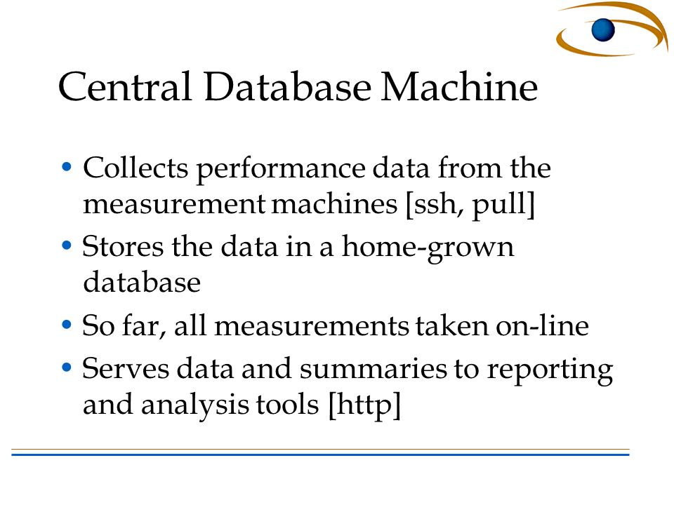 Central Database Machine Collects performance data from the measurement machines [ssh, pull] Stores the data in a home-grown database So far, all measurements taken on-line Serves data and summaries to reporting and analysis tools [http]