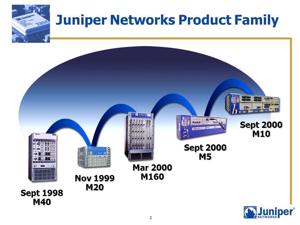 2 Juniper Networks Product Family Nov 1999 M20 Sept 1998 M40 Mar 2000 M160 Sept 2000 M5 M10