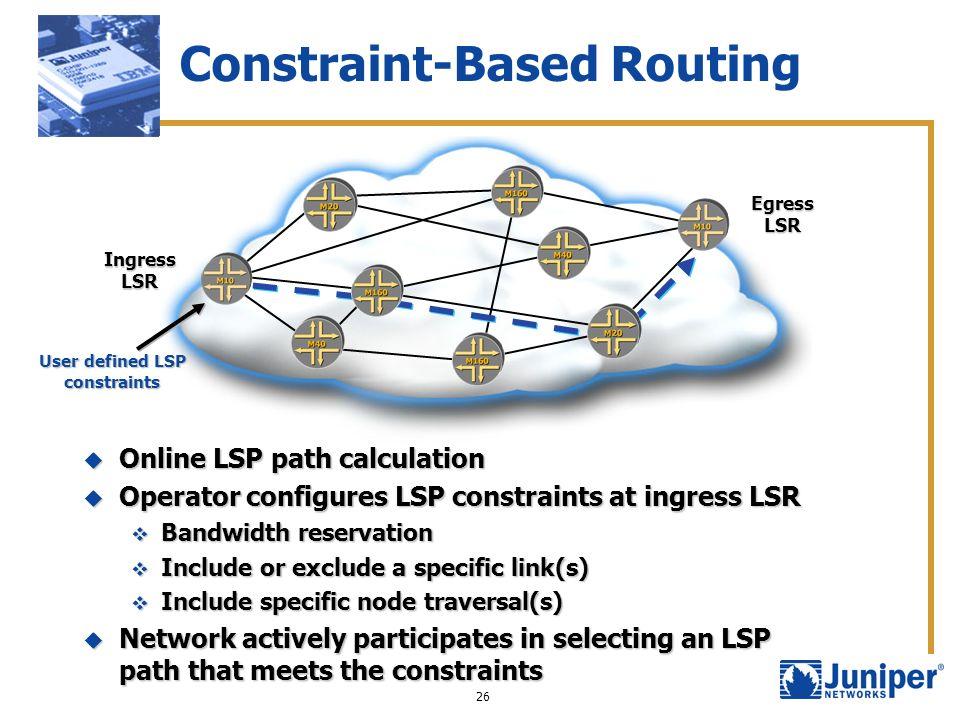 26 Constraint-Based Routing Ingress LSR Egress LSR Online LSP path calculation Online LSP path calculation Operator configures LSP constraints at ingr