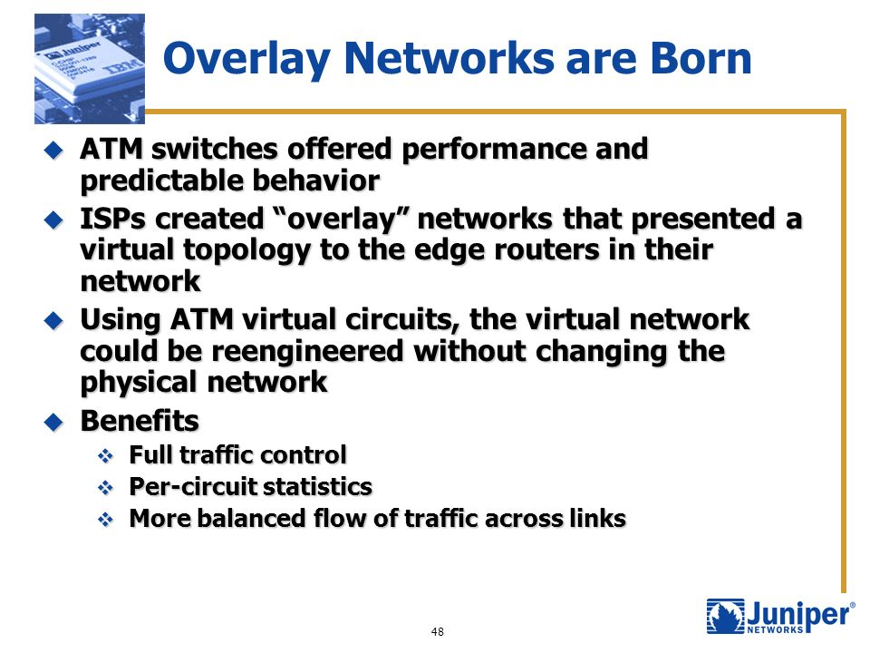 48 Overlay Networks are Born ATM switches offered performance and predictable behavior ATM switches offered performance and predictable behavior ISPs