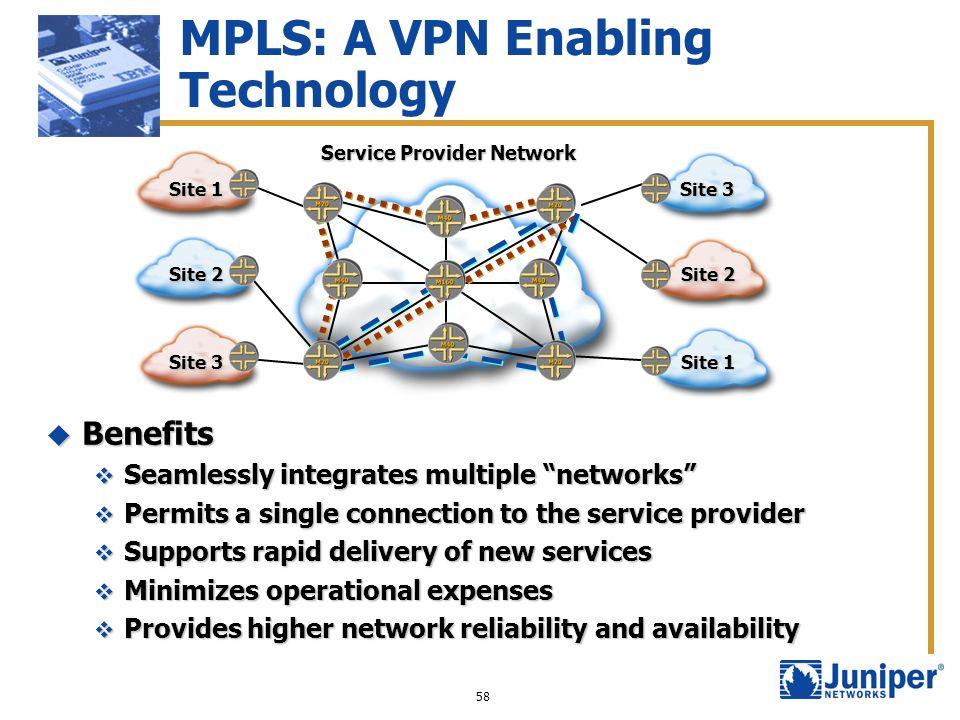 58 MPLS: A VPN Enabling Technology Benefits Benefits Seamlessly integrates multiple networks Seamlessly integrates multiple networks Permits a single