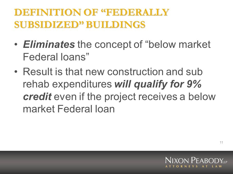 11 DEFINITION OF FEDERALLY SUBSIDIZED BUILDINGS Eliminates the concept of below market Federal loans Result is that new construction and sub rehab exp