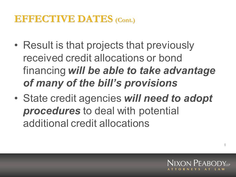 19 CHANGES TO RULES FOR ACQUISITION CREDITS (Cont.) New exception to ten year rule the ten year rule does not apply to projects substantially assisted, financed or operated under HUD or RHS housing programs or similar state housing programsreplaces the Treasury waiver provisions re HUD and RHS properties