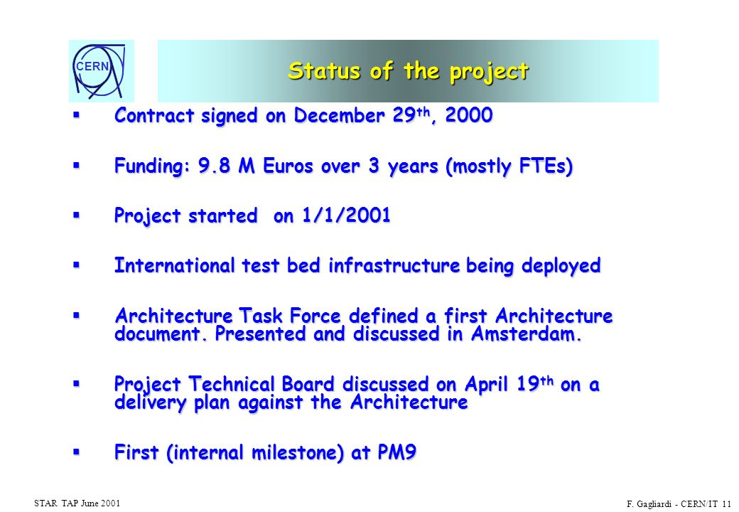 CERN STAR TAP June 2001 F. Gagliardi - CERN/IT 11 Status of the project Contract signed on December 29 th, 2000 Contract signed on December 29 th, 200