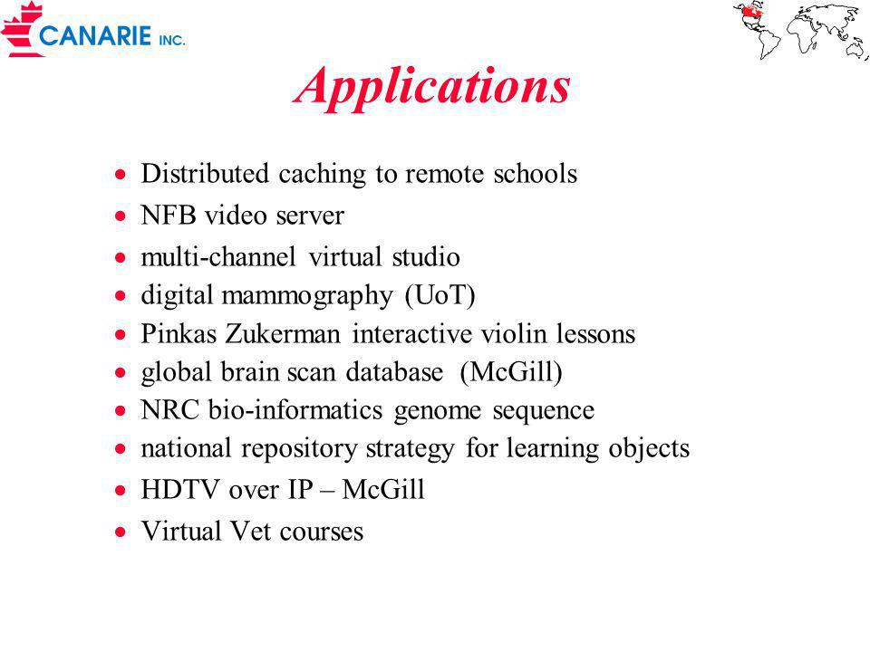 Applications Distributed caching to remote schools NFB video server multi-channel virtual studio digital mammography (UoT) Pinkas Zukerman interactive violin lessons global brain scan database (McGill) NRC bio-informatics genome sequence national repository strategy for learning objects HDTV over IP – McGill Virtual Vet courses