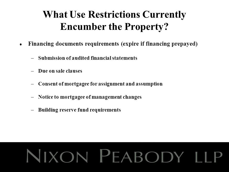 What Use Restrictions Currently Encumber the Property.