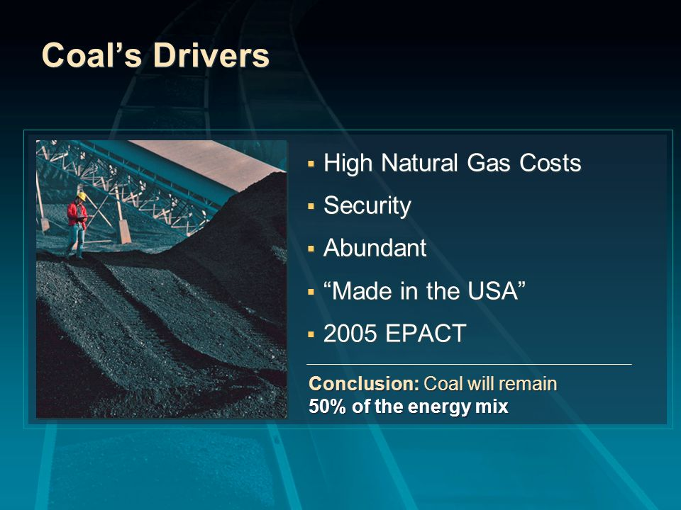 Coals Drivers High Natural Gas Costs Security Abundant Made in the USA 2005 EPACT High Natural Gas Costs Security Abundant Made in the USA 2005 EPACT