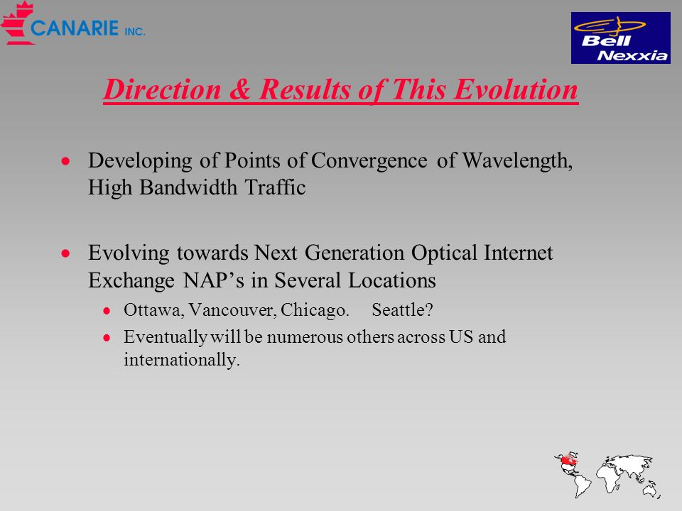 Direction & Results of This Evolution Developing of Points of Convergence of Wavelength, High Bandwidth Traffic Evolving towards Next Generation Optical Internet Exchange NAPs in Several Locations Ottawa, Vancouver, Chicago.
