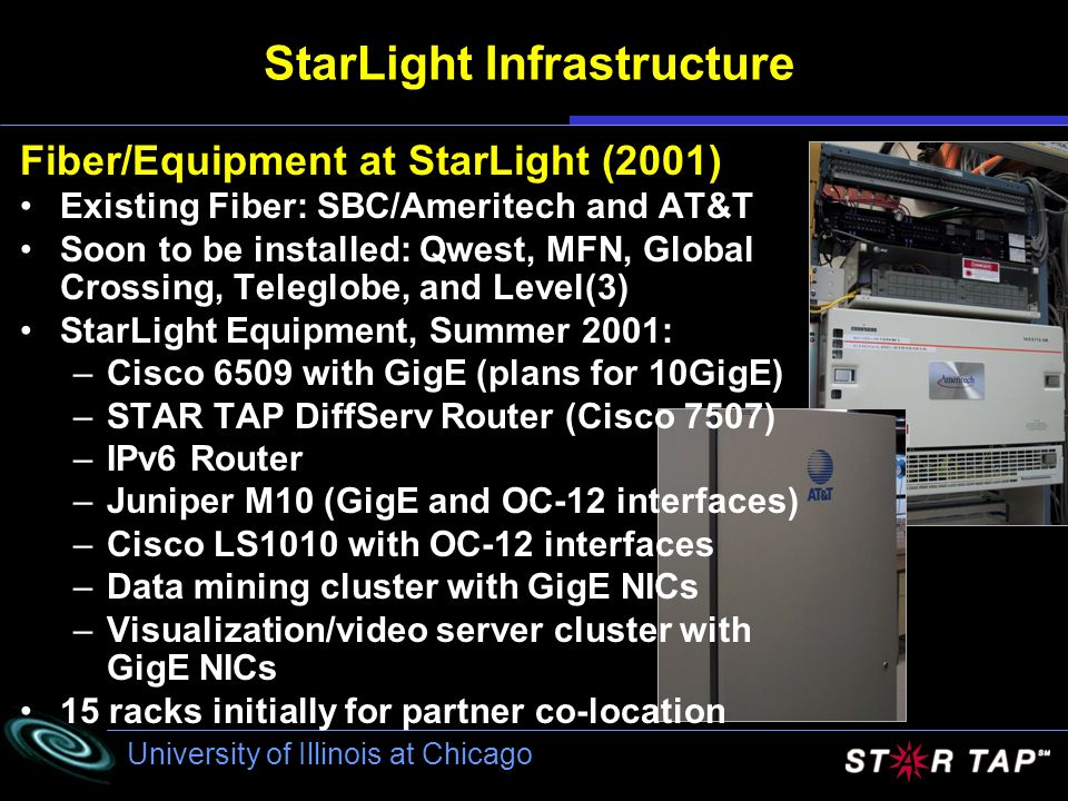 University of Illinois at Chicago StarLight Infrastructure Fiber/Equipment at StarLight (2001) Existing Fiber: SBC/Ameritech and AT&T Soon to be installed: Qwest, MFN, Global Crossing, Teleglobe, and Level(3) StarLight Equipment, Summer 2001: –Cisco 6509 with GigE (plans for 10GigE) –STAR TAP DiffServ Router (Cisco 7507) –IPv6 Router –Juniper M10 (GigE and OC-12 interfaces) –Cisco LS1010 with OC-12 interfaces –Data mining cluster with GigE NICs –Visualization/video server cluster with GigE NICs 15 racks initially for partner co-location