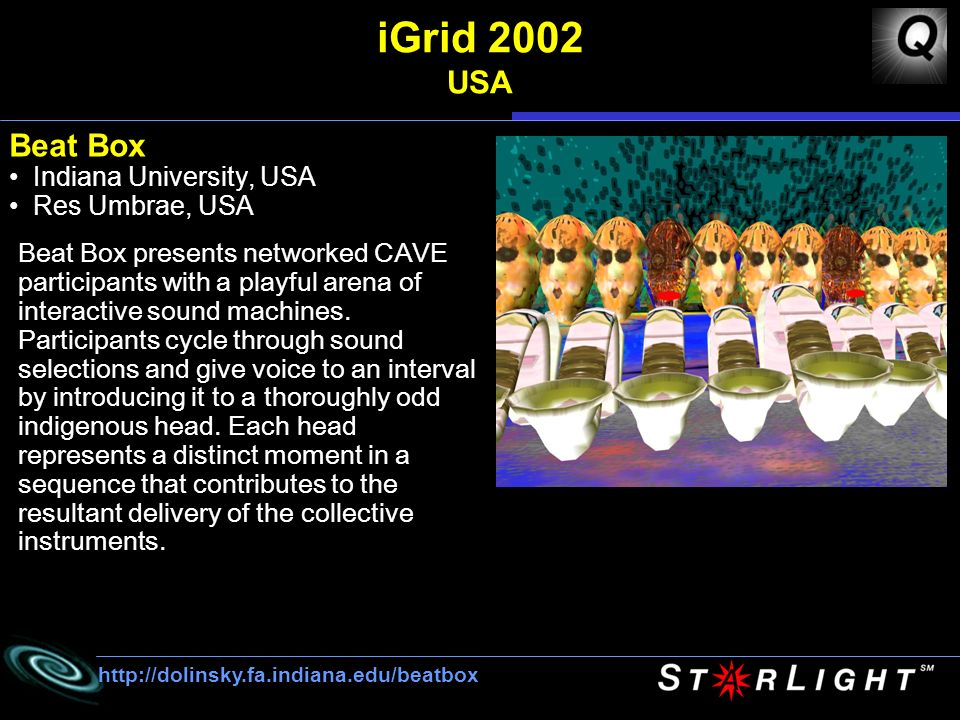 iGrid 2002 USA Beat Box Indiana University, USA Res Umbrae, USA   Beat Box presents networked CAVE participants with a playful arena of interactive sound machines.