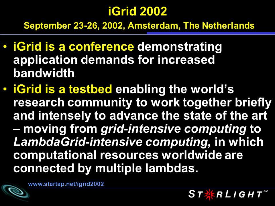 iGrid 2002 USA, Canada, France, Japan, The Netherlands.