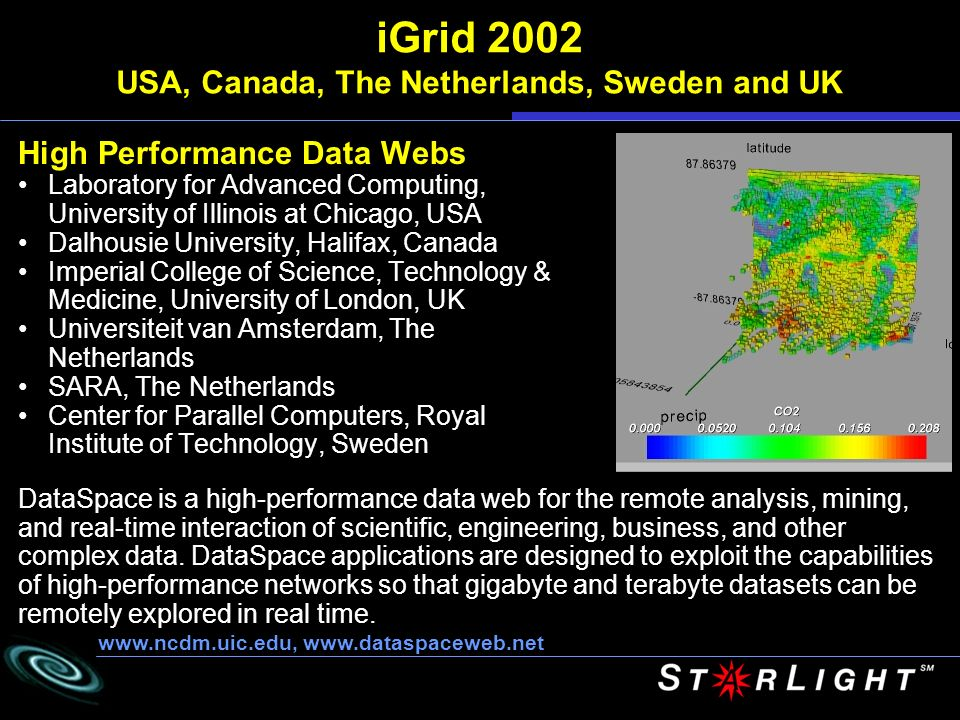 iGrid 2002 USA, Canada, The Netherlands, Sweden and UK High Performance Data Webs Laboratory for Advanced Computing, University of Illinois at Chicago, USA Dalhousie University, Halifax, Canada Imperial College of Science, Technology & Medicine, University of London, UK Universiteit van Amsterdam, The Netherlands SARA, The Netherlands Center for Parallel Computers, Royal Institute of Technology, Sweden     DataSpace is a high-performance data web for the remote analysis, mining, and real-time interaction of scientific, engineering, business, and other complex data.