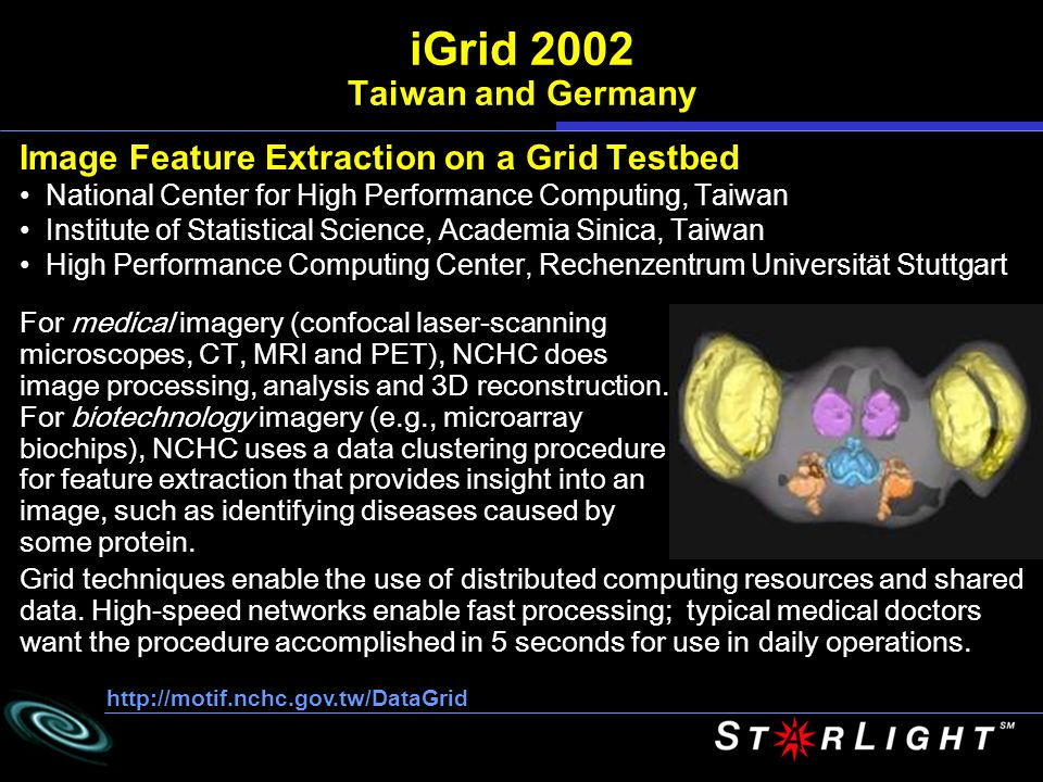 Image Feature Extraction on a Grid Testbed National Center for High Performance Computing, Taiwan Institute of Statistical Science, Academia Sinica, Taiwan High Performance Computing Center, Rechenzentrum Universität Stuttgart http://motif.nchc.gov.tw/DataGrid iGrid 2002 Taiwan and Germany For medical imagery (confocal laser-scanning microscopes, CT, MRI and PET), NCHC does image processing, analysis and 3D reconstruction.