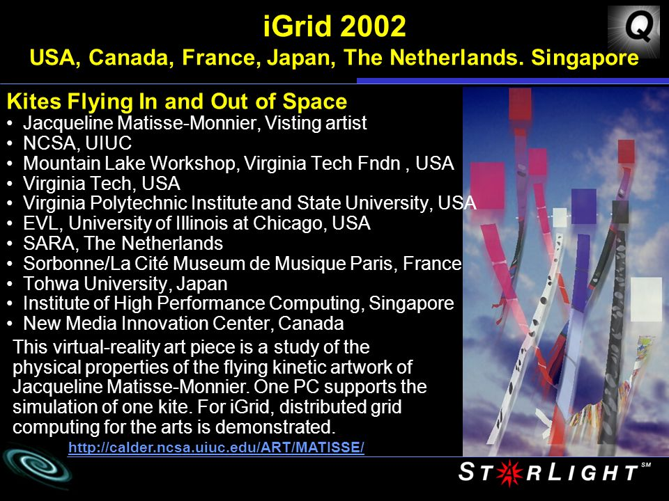 iGrid 2002 USA, Canada, France, Japan, The Netherlands.