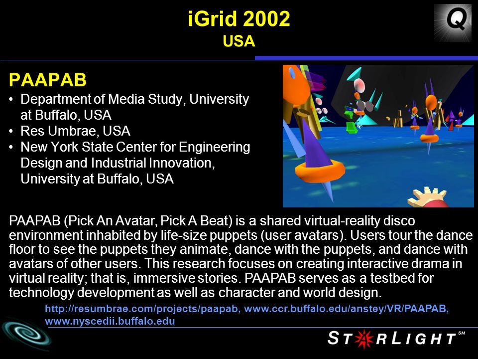 iGrid 2002 USA PAAPAB Department of Media Study, University at Buffalo, USA Res Umbrae, USA New York State Center for Engineering Design and Industrial Innovation, University at Buffalo, USA http://resumbrae.com/projects/paapab, www.ccr.buffalo.edu/anstey/VR/PAAPAB, www.nyscedii.buffalo.edu PAAPAB (Pick An Avatar, Pick A Beat) is a shared virtual-reality disco environment inhabited by life-size puppets (user avatars).