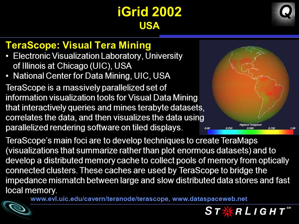 iGrid 2002 USA TeraScope: Visual Tera Mining Electronic Visualization Laboratory, University of Illinois at Chicago (UIC), USA National Center for Data Mining, UIC, USA     TeraScope is a massively parallelized set of information visualization tools for Visual Data Mining that interactively queries and mines terabyte datasets, correlates the data, and then visualizes the data using parallelized rendering software on tiled displays.