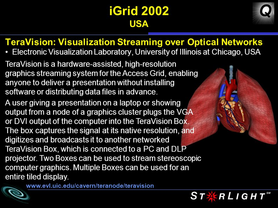 iGrid 2002 USA TeraVision: Visualization Streaming over Optical Networks Electronic Visualization Laboratory, University of Illinois at Chicago, USA   TeraVision is a hardware-assisted, high-resolution graphics streaming system for the Access Grid, enabling anyone to deliver a presentation without installing software or distributing data files in advance.