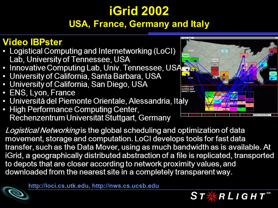 iGrid 2002 USA, France, Germany and Italy Video IBPster Logistical Computing and Internetworking (LoCI) Lab, University of Tennessee, USA Innovative Computing Lab, Univ.
