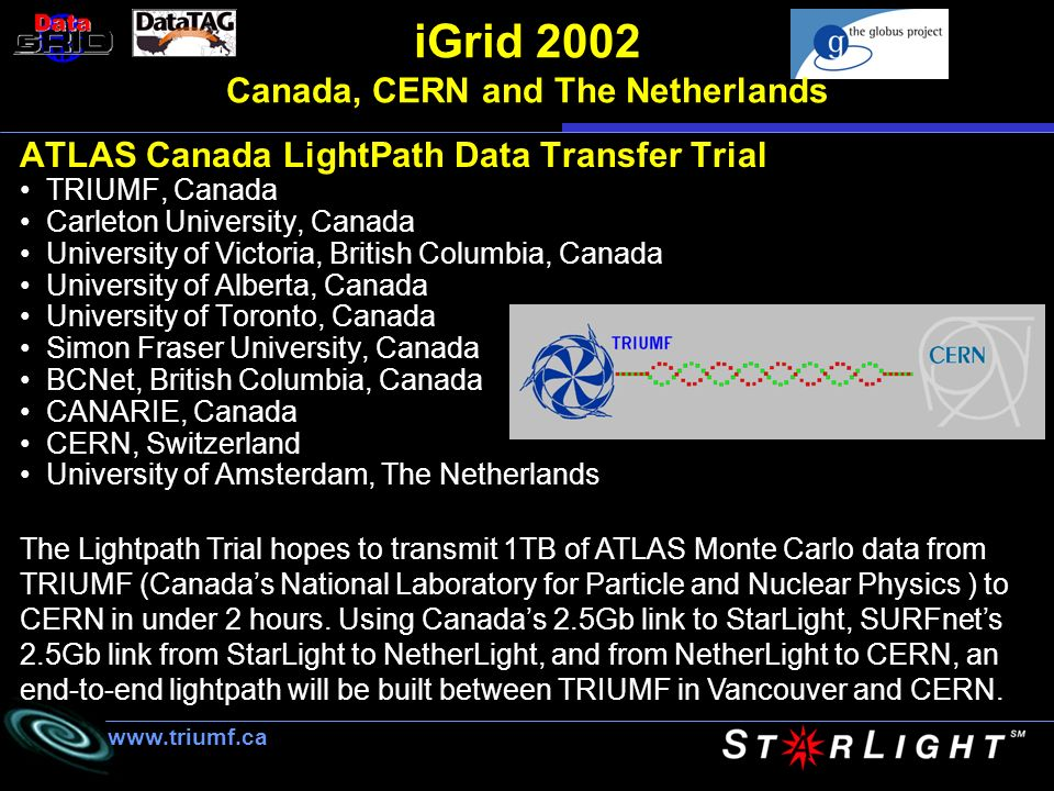 iGrid 2002 Canada, CERN and The Netherlands ATLAS Canada LightPath Data Transfer Trial TRIUMF, Canada Carleton University, Canada University of Victoria, British Columbia, Canada University of Alberta, Canada University of Toronto, Canada Simon Fraser University, Canada BCNet, British Columbia, Canada CANARIE, Canada CERN, Switzerland University of Amsterdam, The Netherlands www.triumf.ca The Lightpath Trial hopes to transmit 1TB of ATLAS Monte Carlo data from TRIUMF (Canadas National Laboratory for Particle and Nuclear Physics ) to CERN in under 2 hours.