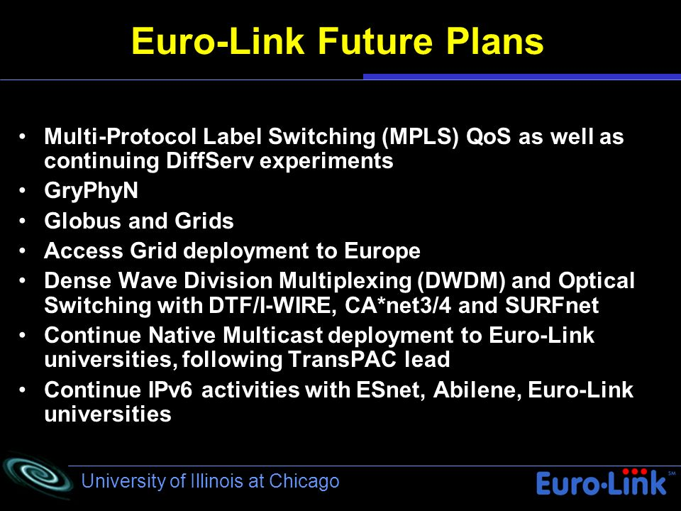 University of Illinois at Chicago Euro-Link Future Plans Multi-Protocol Label Switching (MPLS) QoS as well as continuing DiffServ experiments) GryPhyN