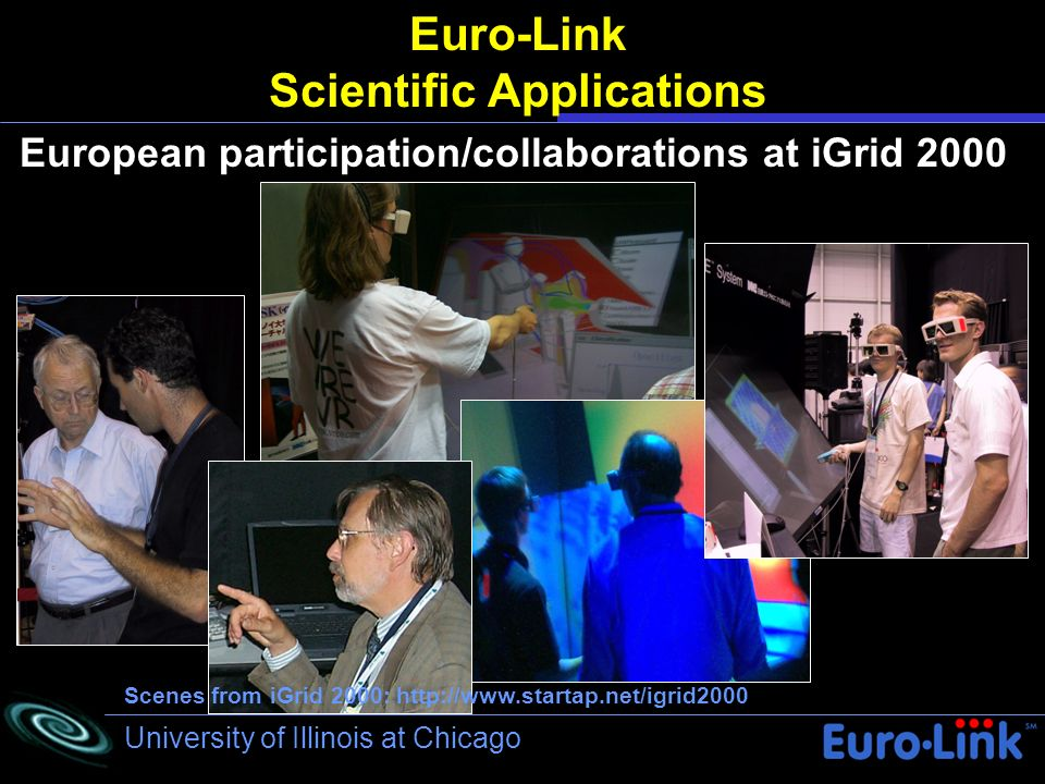 University of Illinois at Chicago Euro-Link Scientific Applications European participation/collaborations at iGrid 2000 Scenes from iGrid 2000: http:/