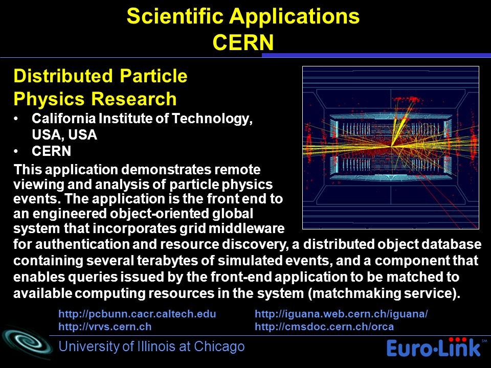 University of Illinois at Chicago Scientific Applications CERN Distributed Particle Physics Research California Institute of Technology, USA, USA CERN for authentication and resource discovery, a distributed object database containing several terabytes of simulated events, and a component that enables queries issued by the front-end application to be matched to available computing resources in the system (matchmaking service).