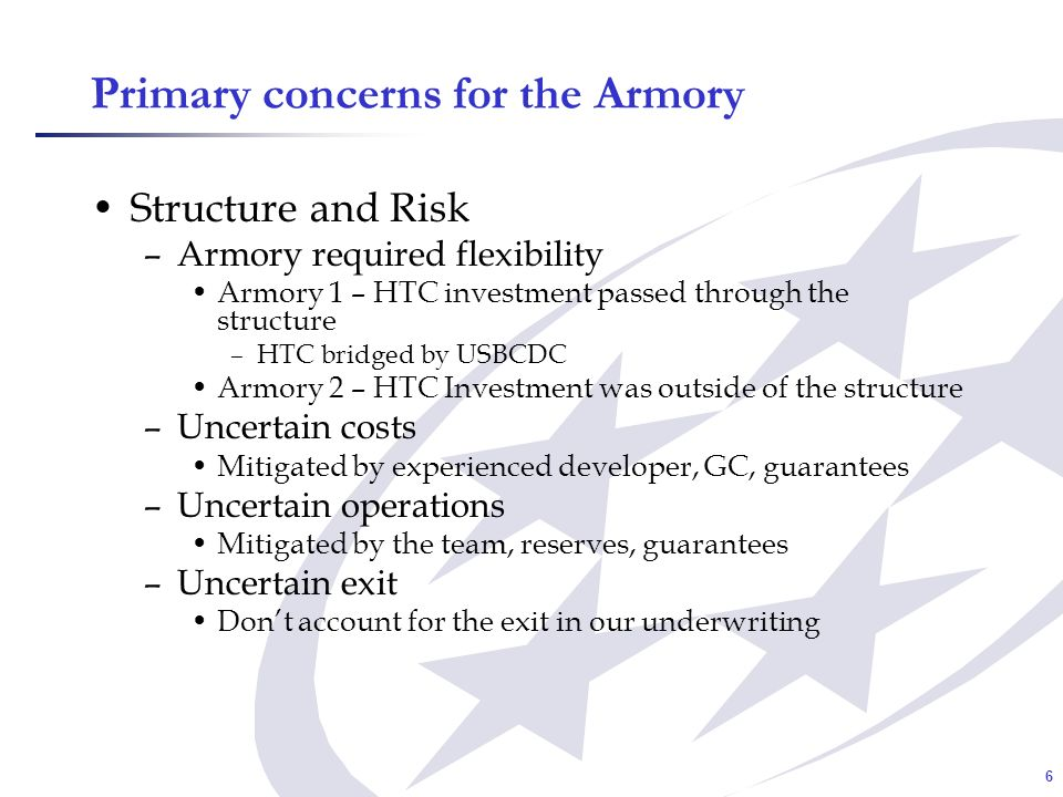 7 Financial Analysis of the Armory NMTC Investment –Minimal underwriting as the leveraged fund was guaranteed –Hold out for 7 years in order to protect NMTC investment HTC Investment –Significant economic risk –Underwriting NOI analysis –Evaluate theater market on high level –Is there a captive sub-tenant.