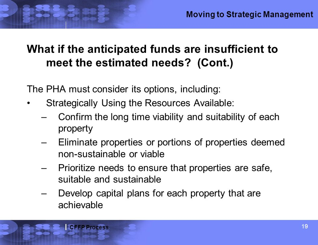 CFFP Process Moving to Strategic Management What if the anticipated funds are insufficient to meet the estimated needs? (Cont.) The PHA must consider
