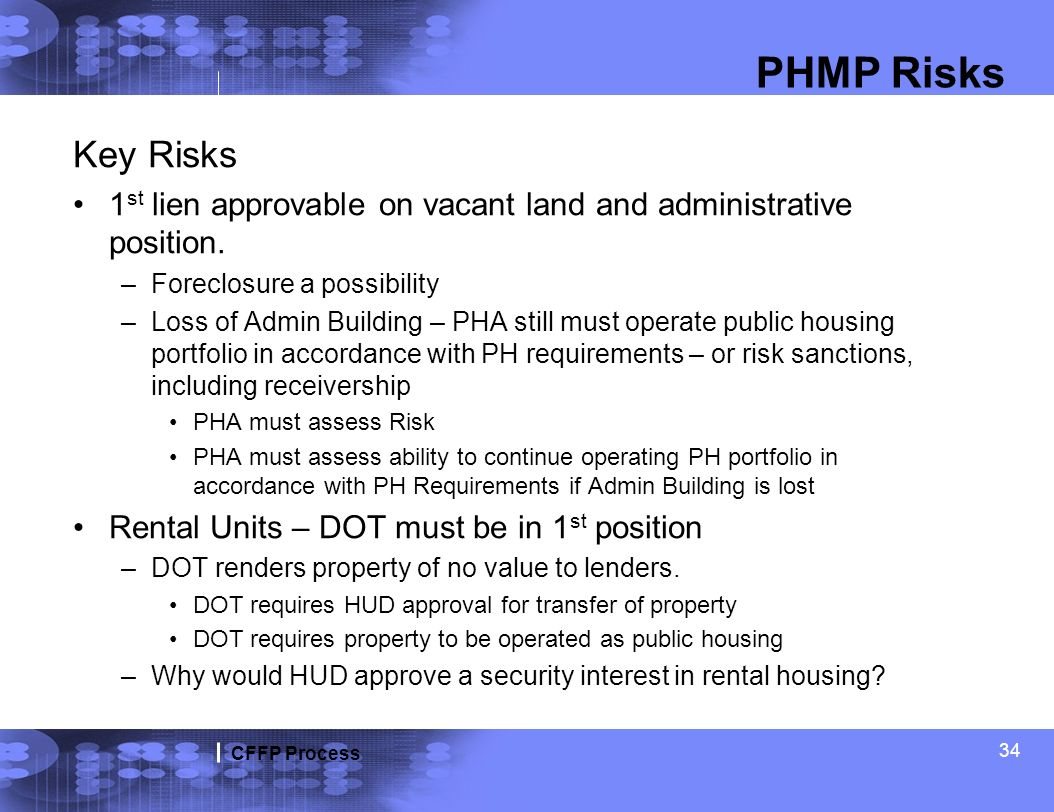CFFP Process 34 PHMP Risks Key Risks 1 st lien approvable on vacant land and administrative position. –Foreclosure a possibility –Loss of Admin Buildi