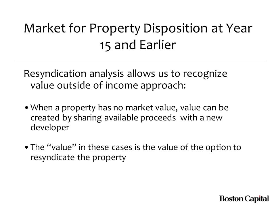 Market for Property Disposition at Year 15 and Earlier Resyndication analysis allows us to recognize value outside of income approach: When a property has no market value, value can be created by sharing available proceeds with a new developer The value in these cases is the value of the option to resyndicate the property
