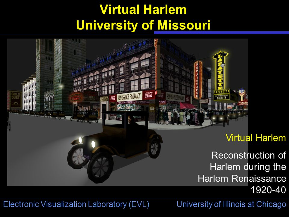 University of Illinois at Chicago Electronic Visualization Laboratory (EVL) Virtual Harlem University of Missouri Virtual Harlem Reconstruction of Har
