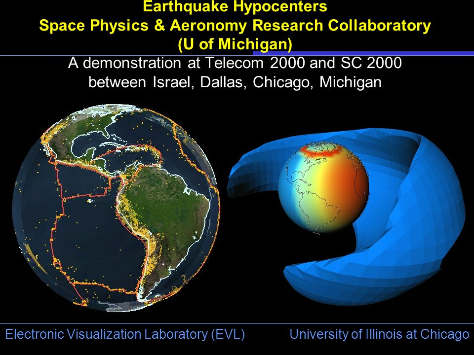University of Illinois at Chicago Electronic Visualization Laboratory (EVL) Earthquake Hypocenters Space Physics & Aeronomy Research Collaboratory (U