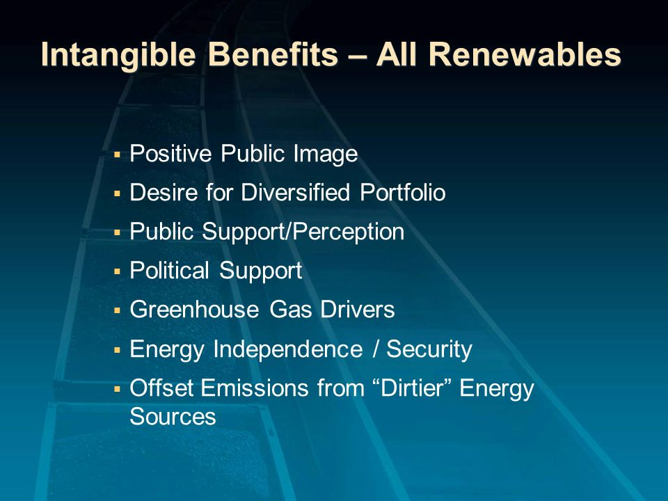 Intangible Benefits – All Renewables Positive Public Image Desire for Diversified Portfolio Public Support/Perception Political Support Greenhouse Gas