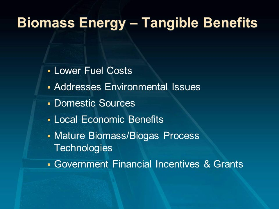 Biomass Energy – Tangible Benefits Lower Fuel Costs Addresses Environmental Issues Domestic Sources Local Economic Benefits Mature Biomass/Biogas Proc
