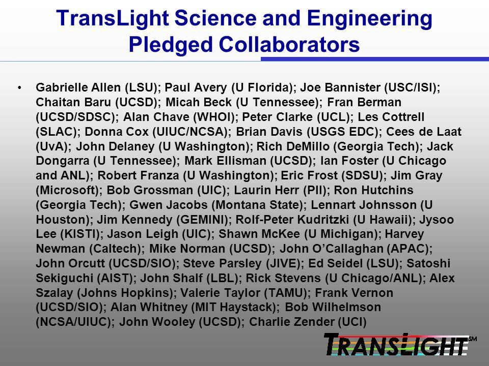 TransLight Science and Engineering Pledged Collaborators Gabrielle Allen (LSU); Paul Avery (U Florida); Joe Bannister (USC/ISI); Chaitan Baru (UCSD); Micah Beck (U Tennessee); Fran Berman (UCSD/SDSC); Alan Chave (WHOI); Peter Clarke (UCL); Les Cottrell (SLAC); Donna Cox (UIUC/NCSA); Brian Davis (USGS EDC); Cees de Laat (UvA); John Delaney (U Washington); Rich DeMillo (Georgia Tech); Jack Dongarra (U Tennessee); Mark Ellisman (UCSD); Ian Foster (U Chicago and ANL); Robert Franza (U Washington); Eric Frost (SDSU); Jim Gray (Microsoft); Bob Grossman (UIC); Laurin Herr (PII); Ron Hutchins (Georgia Tech); Gwen Jacobs (Montana State); Lennart Johnsson (U Houston); Jim Kennedy (GEMINI); Rolf-Peter Kudritzki (U Hawaii); Jysoo Lee (KISTI); Jason Leigh (UIC); Shawn McKee (U Michigan); Harvey Newman (Caltech); Mike Norman (UCSD); John OCallaghan (APAC); John Orcutt (UCSD/SIO); Steve Parsley (JIVE); Ed Seidel (LSU); Satoshi Sekiguchi (AIST); John Shalf (LBL); Rick Stevens (U Chicago/ANL); Alex Szalay (Johns Hopkins); Valerie Taylor (TAMU); Frank Vernon (UCSD/SIO); Alan Whitney (MIT Haystack); Bob Wilhelmson (NCSA/UIUC); John Wooley (UCSD); Charlie Zender (UCI)