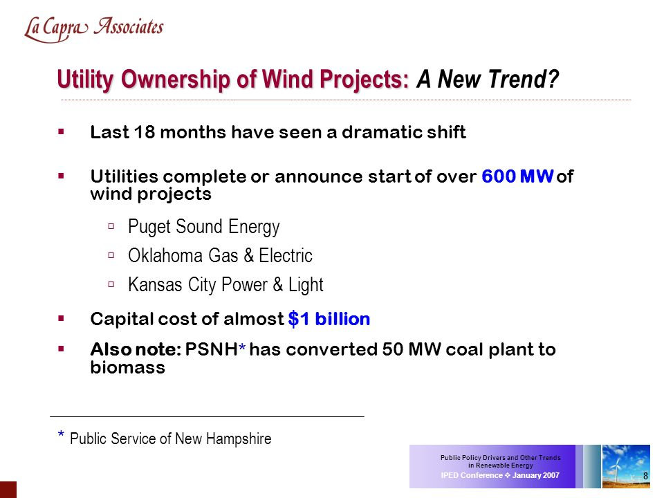 Public Policy Drivers and Other Trends in Renewable Energy IPED Conference January 2007 8 Utility Ownership of Wind Projects: Utility Ownership of Win