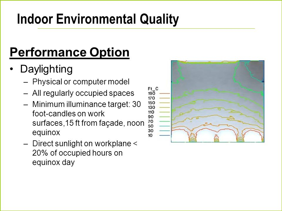 Indoor Environmental Quality Performance Option Daylighting –Physical or computer model –All regularly occupied spaces –Minimum illuminance target: 30