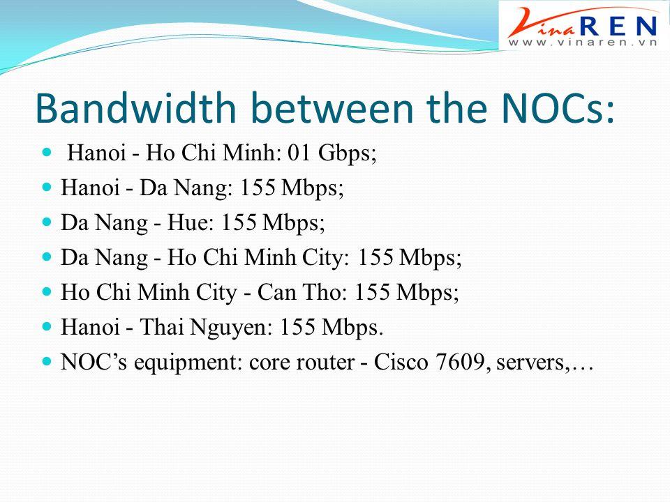 Bandwidth between the NOCs: Hanoi - Ho Chi Minh: 01 Gbps; Hanoi - Da Nang: 155 Mbps; Da Nang - Hue: 155 Mbps; Da Nang - Ho Chi Minh City: 155 Mbps; Ho Chi Minh City - Can Tho: 155 Mbps; Hanoi - Thai Nguyen: 155 Mbps.