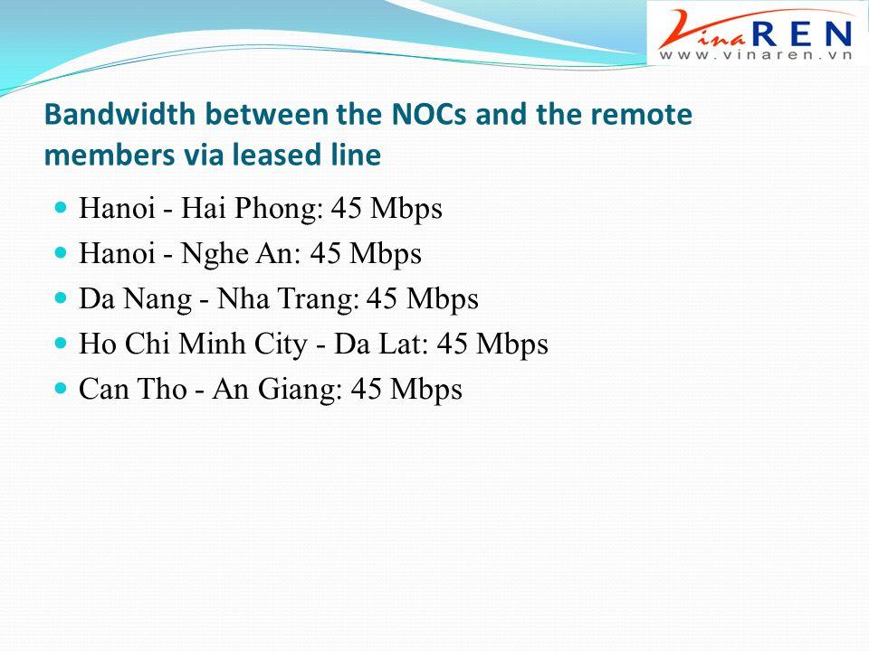 Bandwidth between the NOCs and the remote members via leased line Hanoi - Hai Phong: 45 Mbps Hanoi - Nghe An: 45 Mbps Da Nang - Nha Trang: 45 Mbps Ho