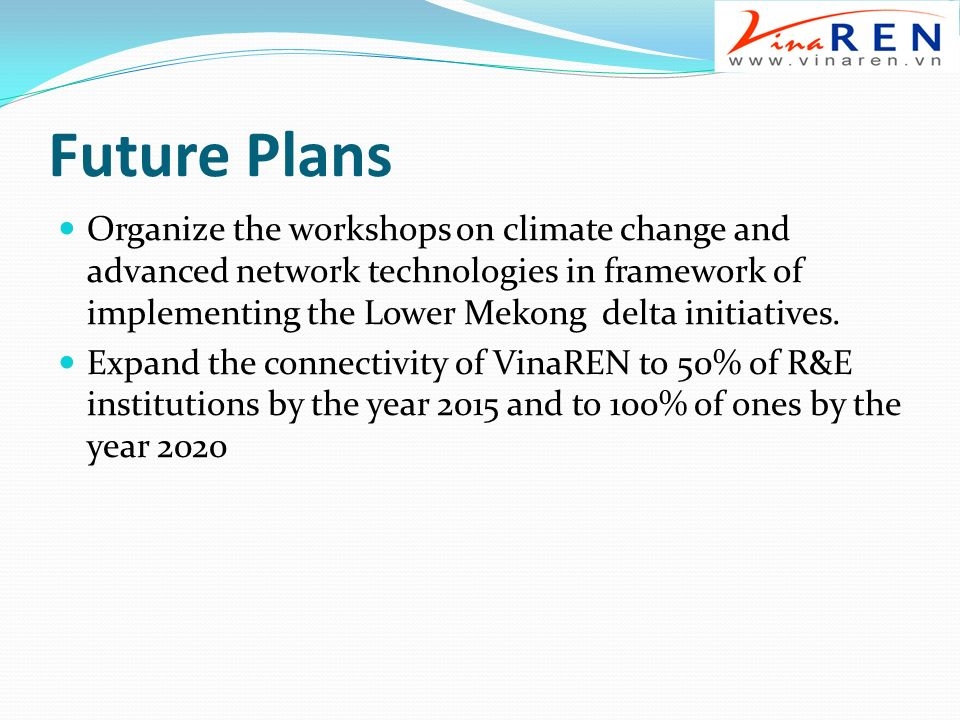 Future Plans Organize the workshops on climate change and advanced network technologies in framework of implementing the Lower Mekong delta initiatives.