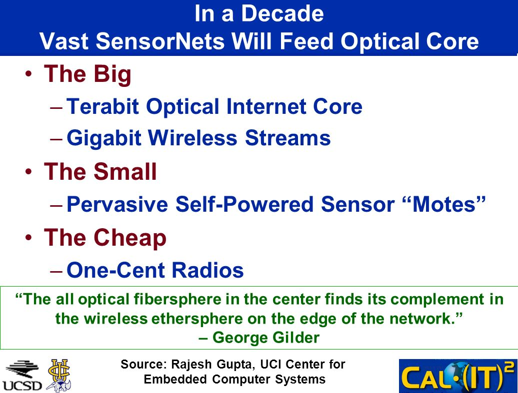 In a Decade Vast SensorNets Will Feed Optical Core The Big –Terabit Optical Internet Core –Gigabit Wireless Streams The Small –Pervasive Self-Powered Sensor Motes The Cheap –One-Cent Radios Source: Rajesh Gupta, UCI Center for Embedded Computer Systems The all optical fibersphere in the center finds its complement in the wireless ethersphere on the edge of the network.