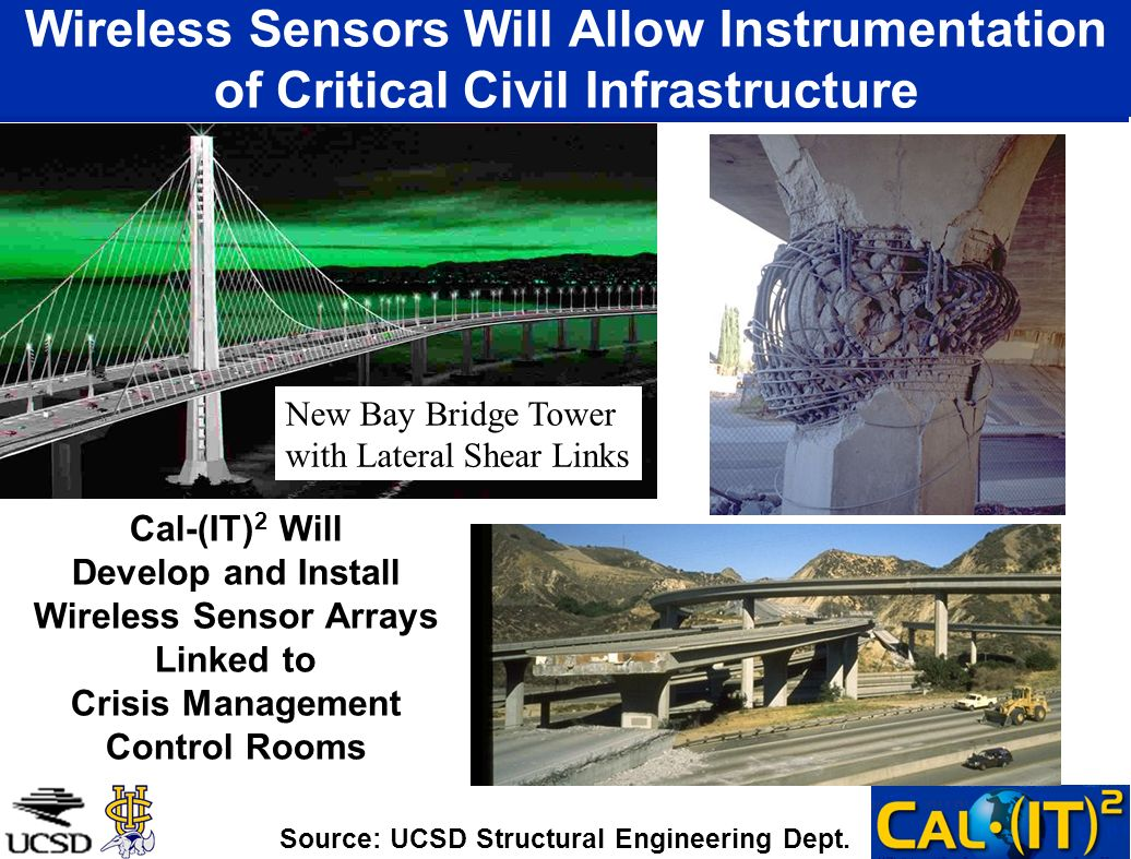 Wireless Sensors Will Allow Instrumentation of Critical Civil Infrastructure New Bay Bridge Tower with Lateral Shear Links Cal-(IT) 2 Will Develop and Install Wireless Sensor Arrays Linked to Crisis Management Control Rooms Source: UCSD Structural Engineering Dept.