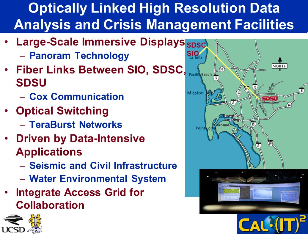 Optically Linked High Resolution Data Analysis and Crisis Management Facilities Large-Scale Immersive Displays –Panoram Technology Fiber Links Between SIO, SDSC, SDSU –Cox Communication Optical Switching –TeraBurst Networks Driven by Data-Intensive Applications –Seismic and Civil Infrastructure –Water Environmental System Integrate Access Grid for Collaboration SDSC SIO