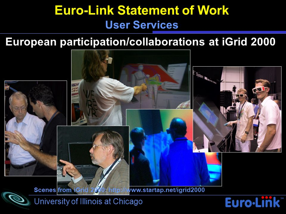 University of Illinois at Chicago Euro-Link Statement of Work User Services European participation/collaborations at iGrid 2000 Scenes from iGrid 2000: http://www.startap.net/igrid2000