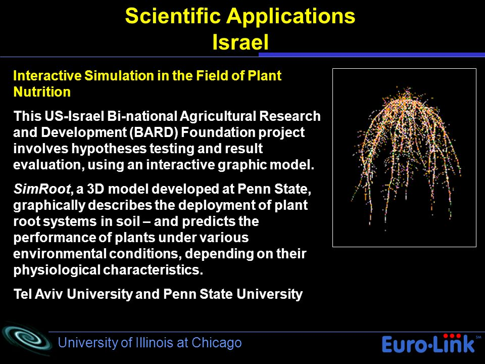 University of Illinois at Chicago Scientific Applications Israel Interactive Simulation in the Field of Plant Nutrition This US-Israel Bi-national Agricultural Research and Development (BARD) Foundation project involves hypotheses testing and result evaluation, using an interactive graphic model.