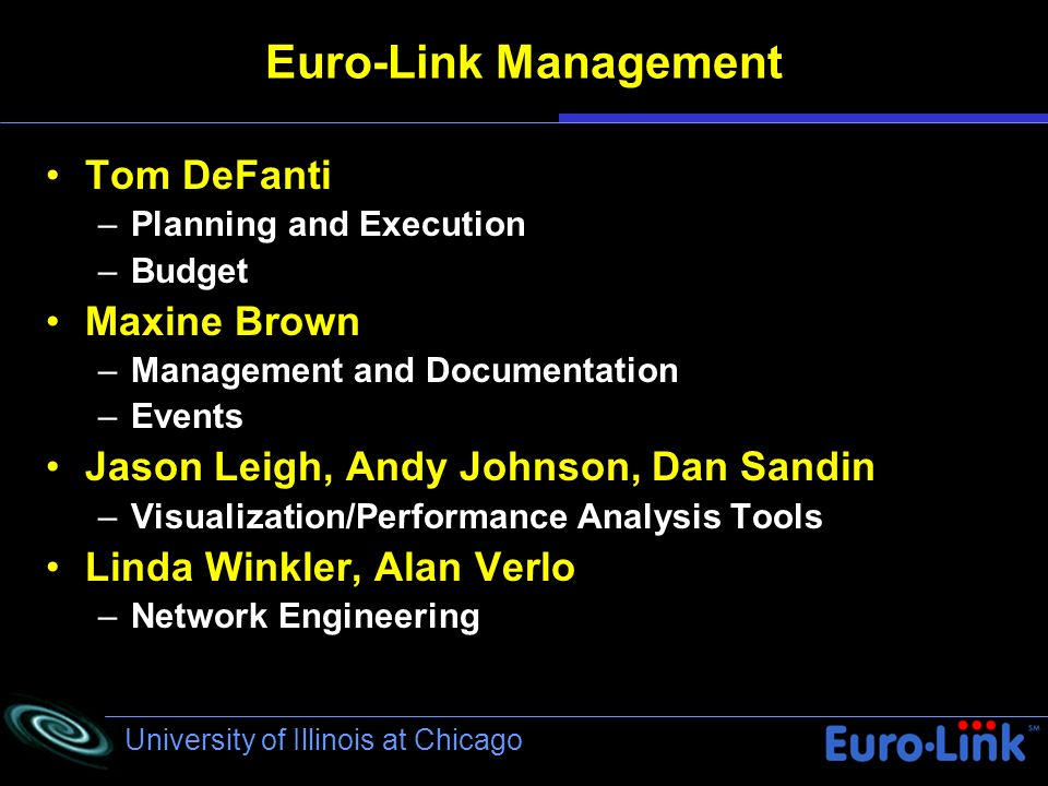 University of Illinois at Chicago Euro-Link Management Tom DeFanti –Planning and Execution –Budget Maxine Brown –Management and Documentation –Events Jason Leigh, Andy Johnson, Dan Sandin –Visualization/Performance Analysis Tools Linda Winkler, Alan Verlo –Network Engineering