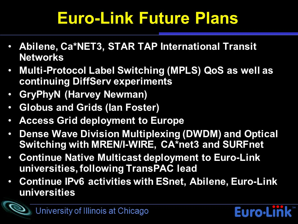 University of Illinois at Chicago Euro-Link Future Plans Abilene, Ca*NET3, STAR TAP International Transit Networks Multi-Protocol Label Switching (MPLS) QoS as well as continuing DiffServ experiments) GryPhyN (Harvey Newman) Globus and Grids (Ian Foster) Access Grid deployment to Europe Dense Wave Division Multiplexing (DWDM) and Optical Switching with MREN/I-WIRE, CA*net3 and SURFnet Continue Native Multicast deployment to Euro-Link universities, following TransPAC lead Continue IPv6 activities with ESnet, Abilene, Euro-Link universities