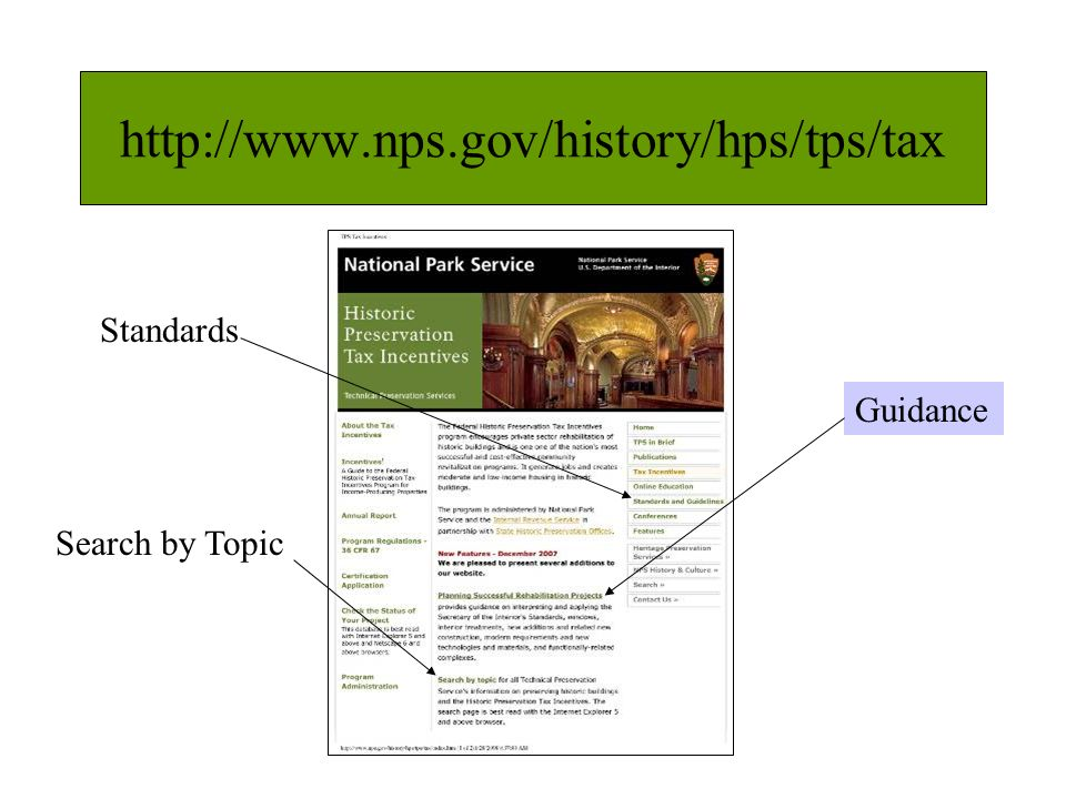 http://www.nps.gov/history/hps/tps/tax Guidance Search by Topic Standards