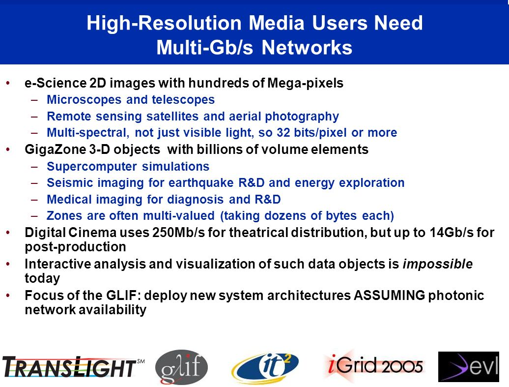 High-Resolution Media Users Need Multi-Gb/s Networks e-Science 2D images with hundreds of Mega-pixels –Microscopes and telescopes –Remote sensing satellites and aerial photography –Multi-spectral, not just visible light, so 32 bits/pixel or more GigaZone 3-D objects with billions of volume elements –Supercomputer simulations –Seismic imaging for earthquake R&D and energy exploration –Medical imaging for diagnosis and R&D –Zones are often multi-valued (taking dozens of bytes each) Digital Cinema uses 250Mb/s for theatrical distribution, but up to 14Gb/s for post-production Interactive analysis and visualization of such data objects is impossible today Focus of the GLIF: deploy new system architectures ASSUMING photonic network availability