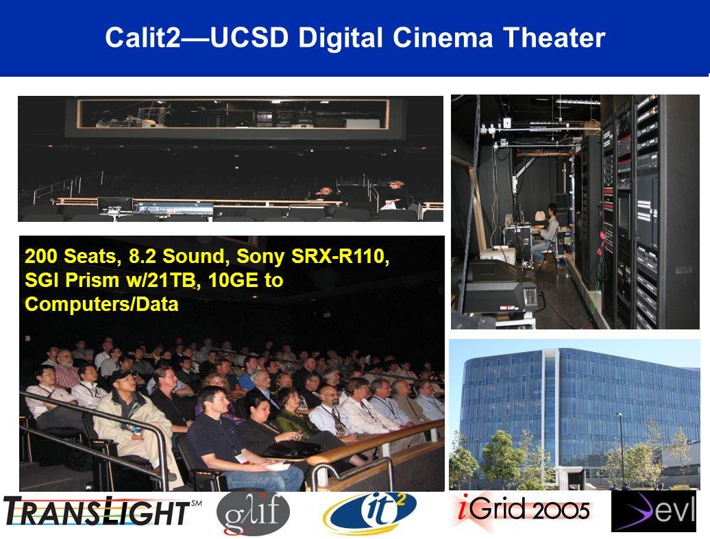 Calit2UCSD Digital Cinema Theater 200 Seats, 8.2 Sound, Sony SRX-R110, SGI Prism w/21TB, 10GE to Computers/Data